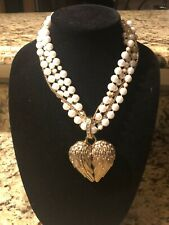 Betsey Johnson Necklace Winged Mirror Heart Charm Multi Strand Pearls
