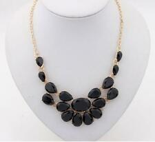 BLACK FACETED RHINESTONE NECKLACE - GOLD PLATED - FREE UK P&P........CG1966