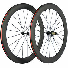 60mm Carbon Wheelset Road Bike/Bicycle Wheels Clincher R13 Hub 3K Matte Basalt