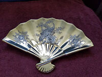 ASIAN 'GOLD' Candy Dish ~~ SILVER PEACOCK & FLOWERS FAN ~~ Made in Japan!