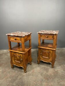 A Pair Of Antique French Walnut Bedside Cabinets With Marble Top
