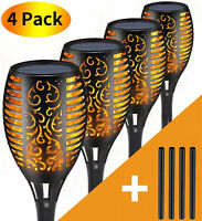 4 Pack Outdoor 12 LED Solar Torch Flickering Flame Light Garden Waterproof Lamp