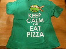LICENSED TMNT TURTLES  KEEP CALM AND EAT PIZZA GREEN T-SHIRT SIZE: 2XL ***NEW***