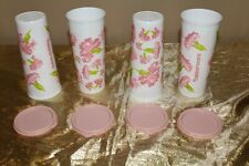 New Set of 4 Carnation Tupperware Beautiful 16oz Tumblers with lids