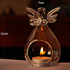 Cute Angel Glass Crystal Hanging Tea Light Candle Holder Home Decor Candlestick