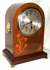 Antique Inlaid Mahogany TING TANG Bracket Mantel Clock : W & H Sch (a4)
