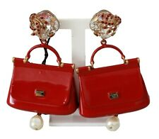 DOLCE & GABBANA Earrings Gold Red Sicily Bag Crystal Clip On Dangling RRP $1000
