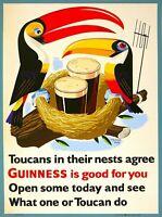 Guinness Beer Toucan Ireland Great Britain Vintage Travel Art Poster