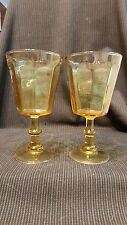 "2 Yellow Amber Water Goblets Glasses 6 5/8"" Unk542- AMBER"