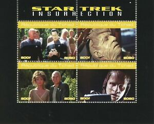 Chad Star Trek Stamps 2020 CTO Insurrection Picard Data Movies Film 4v M/S