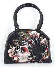 Liquorbrand Gypsy Rose Sugar Skull Lady Tattoo Art Bowling Bag Purse Handbag
