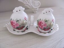 Fine Bone China Shabby Pink Rose Salt & Pepper Shakers With Stand Home decor