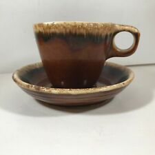 Vintage HULL Pottery Brown Drip Glaze Coffee Cup and Saucer