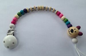 Personalised Dummy Clip Pacifier Holder Clip Strap Wooden Beads Chain Toy