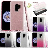 Samsung GALAXY S9 Plus S9 Hybrid Glitter Bling Rubber Protective Gel Case Cover