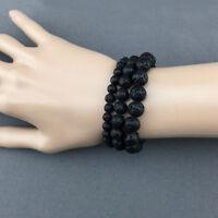 Genuine Lava Rock Bracelet Volcanic Beads Natural Stone Beaded Stretch Bracelets