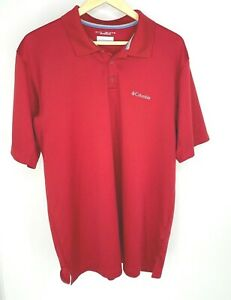 Columbia Omni-Shade Men's Short Sleeve Red Textured Polo Top. Size LT