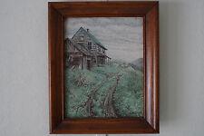 Vintage R Mitchell Cabin Landscape Painting Framed