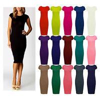 New Women,s Plain Cap Sleeve Midi Dress Ladies Jersey Stretch Bodycon Midi Dress