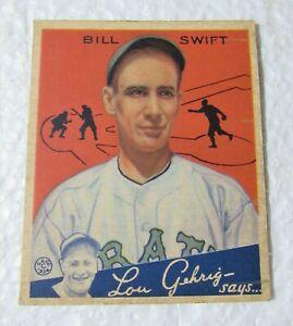 Original 1934 Bill Swift Pittsburg Pirates #57 Goudey Baseball Card
