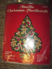 Vintage BUCILLA Christmas Needlecraft Kit 2830 Jeweled Panel Sugar Plum Tree