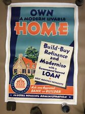 Original 1930S Federal Housing Administration Poster Linen Backed FREE SHIPPING