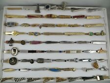 Lot of 58 Tie Clasps Clips Gold and Silver Tone Vintage and Modern