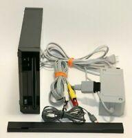 Nintendo Wii Console + Sensor Bar & Cords BLACK RVL-101(USA) Free Priority Mail