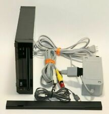 Nintendo Wii Console + Sensor Bar & Cords Black Rvl-101(Usa) Free Priority Mail