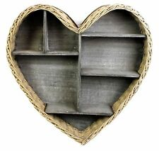 Wooden Heart Shape Rustic Wall Hanging Shelf Display Unit Kitchen Storage