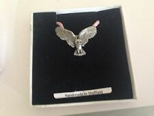 Owl WLOWLKR Pewter Emblem ON A PINK CORD Necklace Handmade