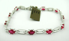 RUBY 4.50 Cts TENNIS BRACELET SILVER PLATED * New With Tag *