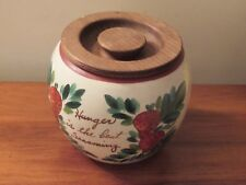 Bauer Pottery Canister w/ Painted Strawberry Design Hunger is the Best Seasoning