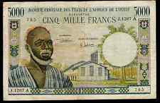 IVORY COAST WEST AFRICAN STATES  P104A  5000 FRANCS - VF - 1961 / 1965
