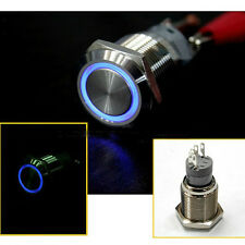 16mm 12V BLUE Led Angel Eye Push Button Metal Momentary Switch for Car Boats DIY