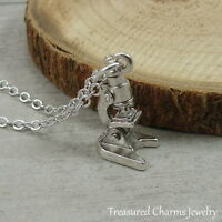 Silver Microscope Charm Necklace - Science Bio Lab Medical Research Jewelry NEW