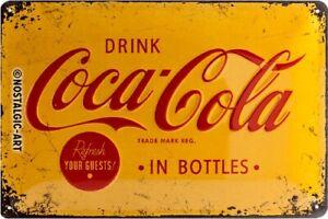 Coca Cola Logo Yellow Blechschild Schild 3D geprägt Tin Sign 20 x 30 cm 22228