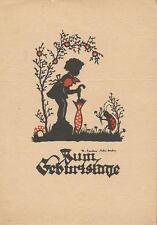 Geburtstag, Kind mit Schirm, Marienkäfer mit Blumen, Scherenschnitt-Schattenbild