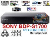 SONY BDP-S1700 Refurbished REGION FREE BLU-RAY DVD PLAYER ZONE A B C DVD 0-8 USB
