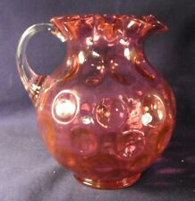 Fenton Inverted Thumbprint cranberry glass pitcher