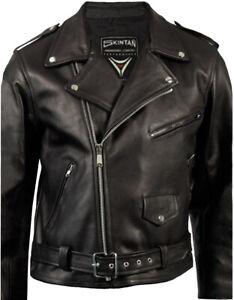 Brando Leather Motorcycle Motorbike Jacket Black Perfecto Classic Biker Skintan