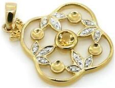 Citrine & 12 Diamond 9K 9ct 375 Solid Gold Pendant Genuine