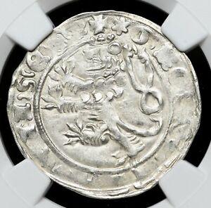 BOHEMIA. Johann of Luxemberg, 1310-1346, Silver Gros, NGC MS62