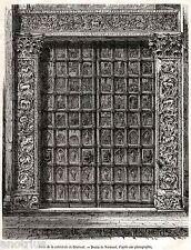 Benevento: Porta del Duomo. Capolavoro. Sannio.Stampa Antica + Passepartout.1879