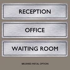 Door Plaque Sign | Any Text Any Words Brushed Aluminium Metal Office Door Sign