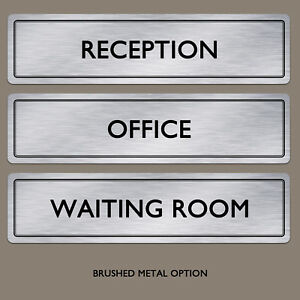 Door Plaque Sign | Any Text Any Words Brushed Aluminium Metal Office Door Sign