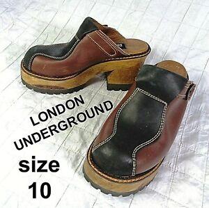Vintage RARE 90s London Underground Womens Chunky Wood Platform Clogs Size 10