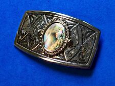 Western Cowboy Mother of Pearl Centerpiece Silver Tone  Belt Buckle