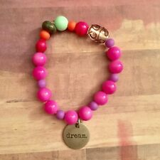 "Inspiration ""dream"" Beaded Stretch Stackable Bracelet with Hot Pink Mixed Beads"