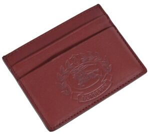 New Burberry $250 Crimson Red Leather Embossed Crest Card Case Wallet